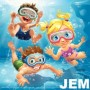 JEM Little Kids jumping, swimming and diving in pool